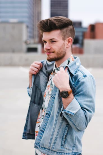 guy with denim jacket